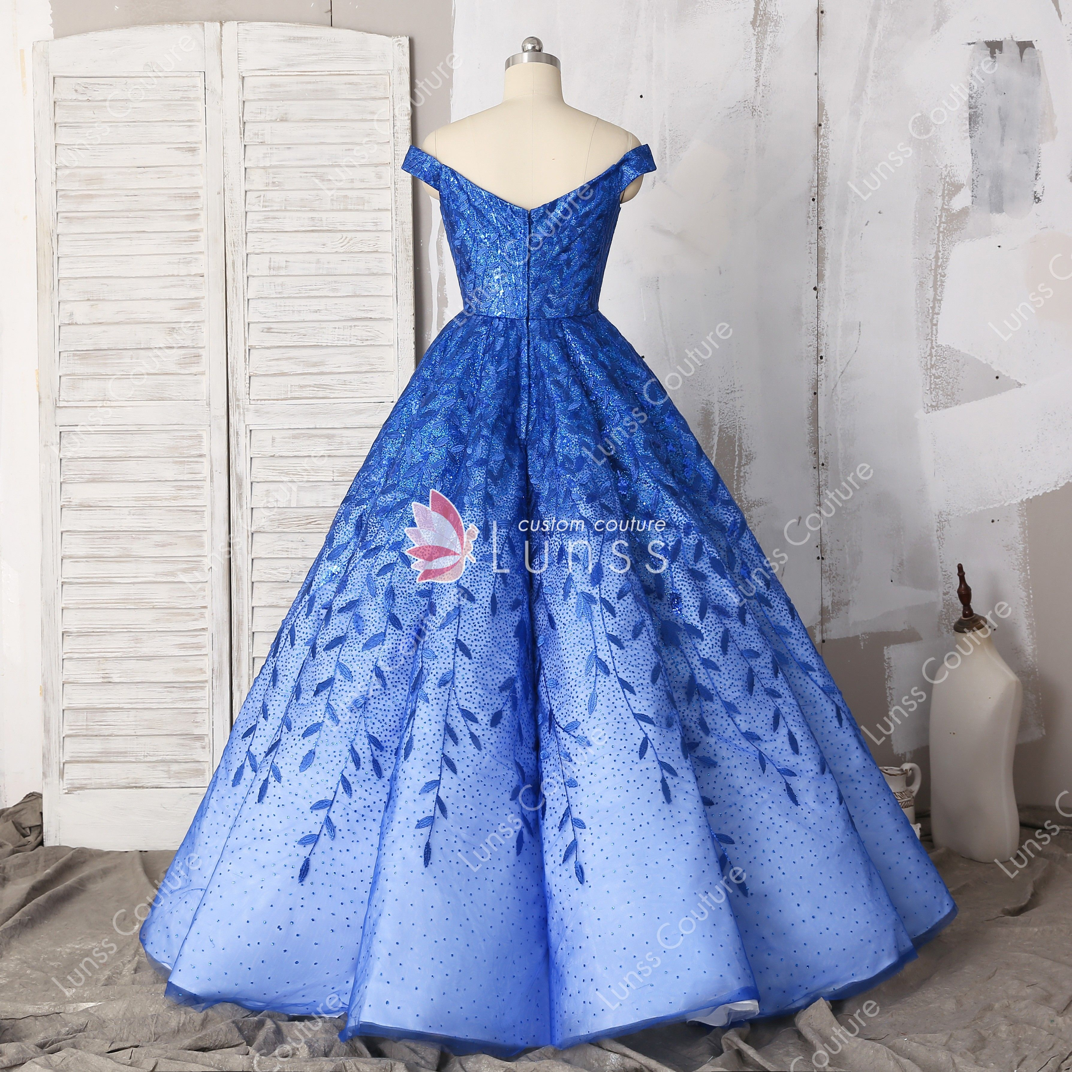 753d5b17b6f sparkly ombre royal blue off the shoulder floor length ball gown prom dress  with leaf lace for wholesale
