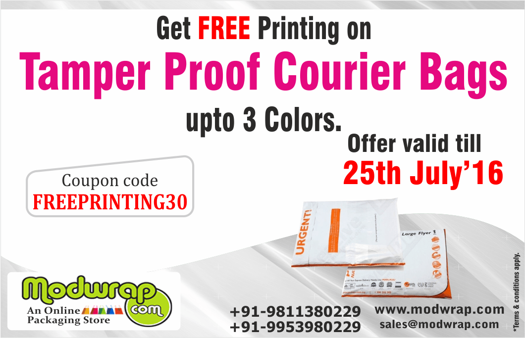 Get Free Printing On Tamper Proof Courier Bags Upto 3 Colors Use Promo Code Freeprinting30 Offer Valid Till 25th July Tamper Proof Tamper Evident Free Prints