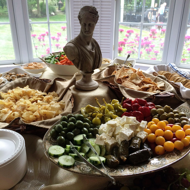 Greek theme party appetizer table  Greek theme party in 2019  Greek party decorations Greek