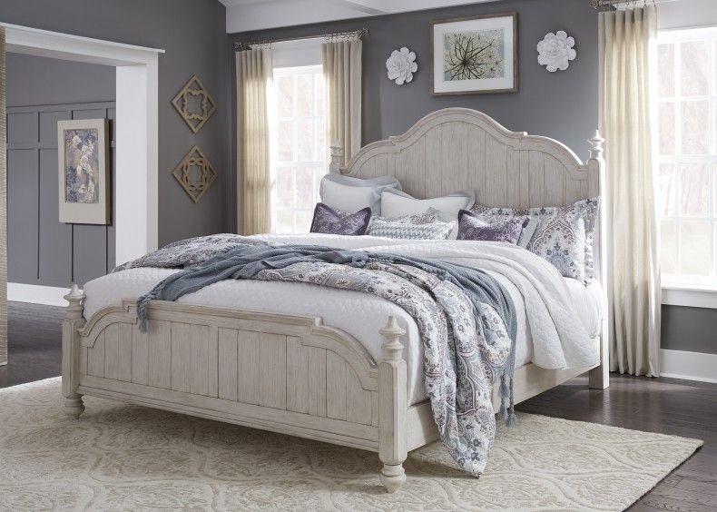 Farmhouse reimagined antique white king poster bed in 2020