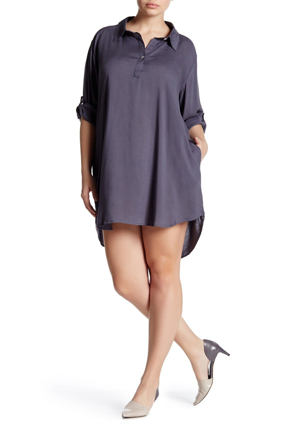 Roll tab shirt dress plus size products