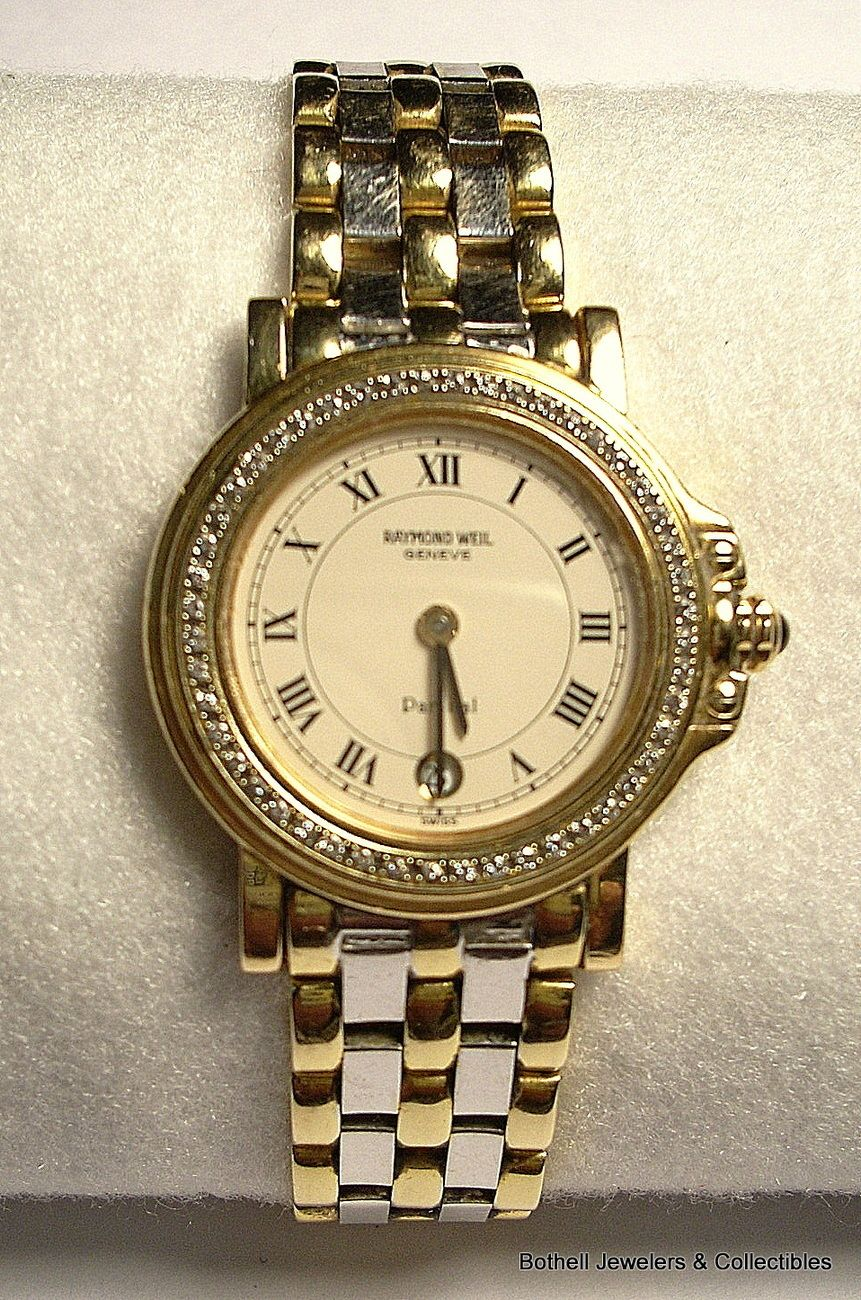 'Raymond Weil' Geneve 'Parsifal' Swiss made 18 karat yellow and white gold lady's wristwatch in excellent mechanical and outer condition with a quartz movement and date window. It has approximately fifty (50) small full cut diamonds around the dial, and a beautiful two tone design, has over 50 grams of solid 18K gold, not counting the movement, and would sell new for about $15,000.00. Our price is $5,995.00 including Priority shipping and insurance charge for this item in the U.S. A rare…