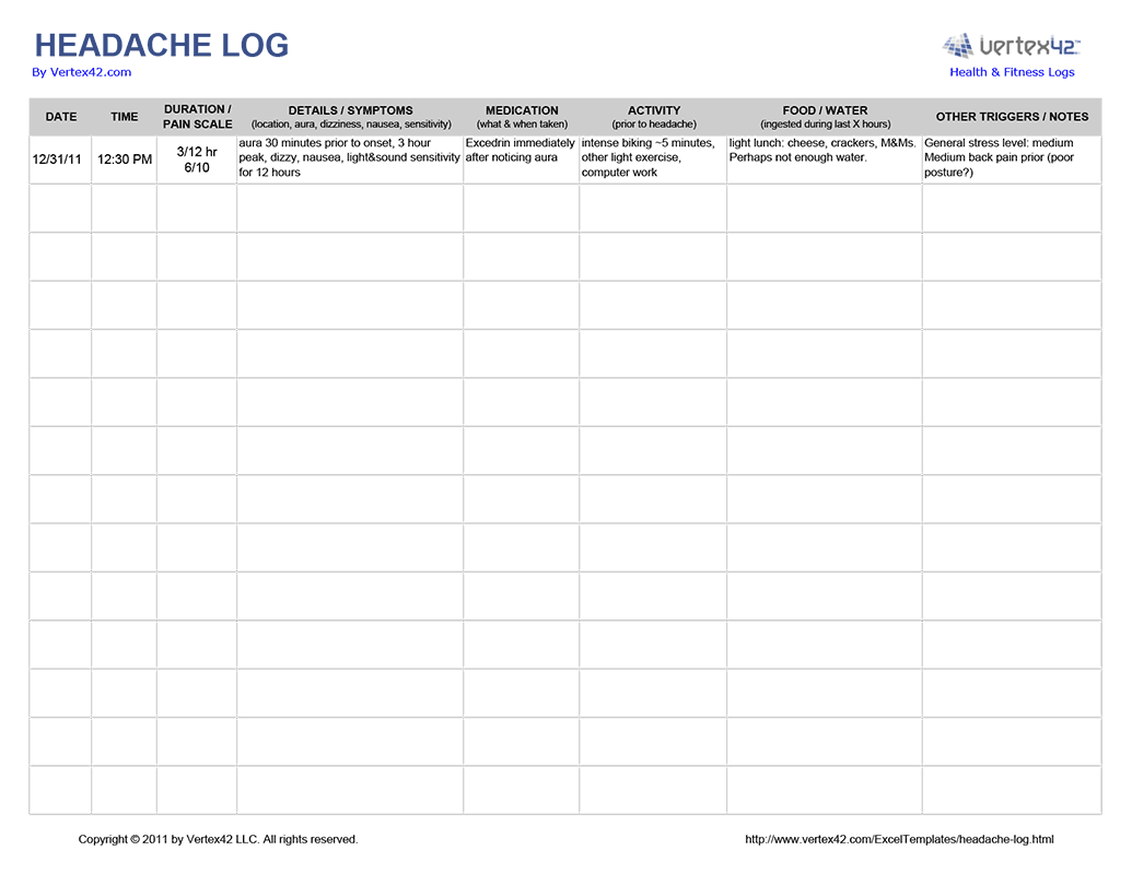 Super Printable Headache Log Amp Pc92 Advancedmassagebysara