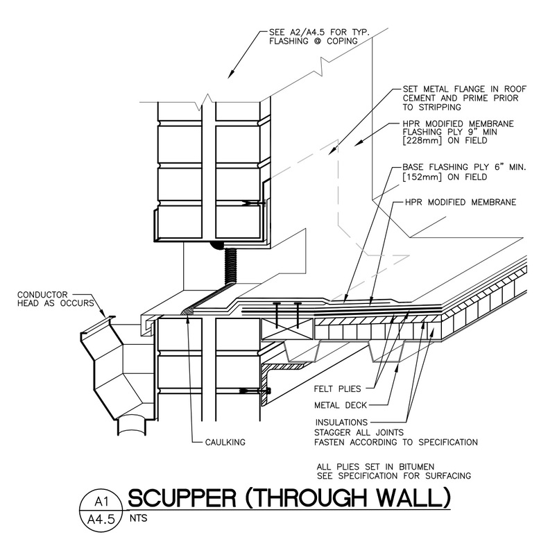 Scupper Detail Google Search Roof Metal Deck Roof Cement