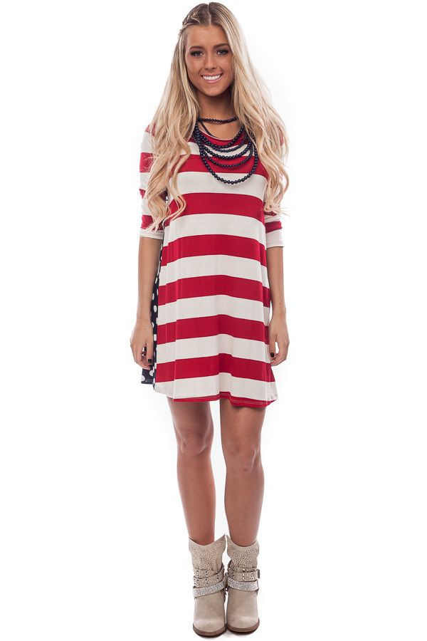 aa6c71a1c222c8 Lime Lush Boutique - Red Striped and Navy Dotted Tunic Dress