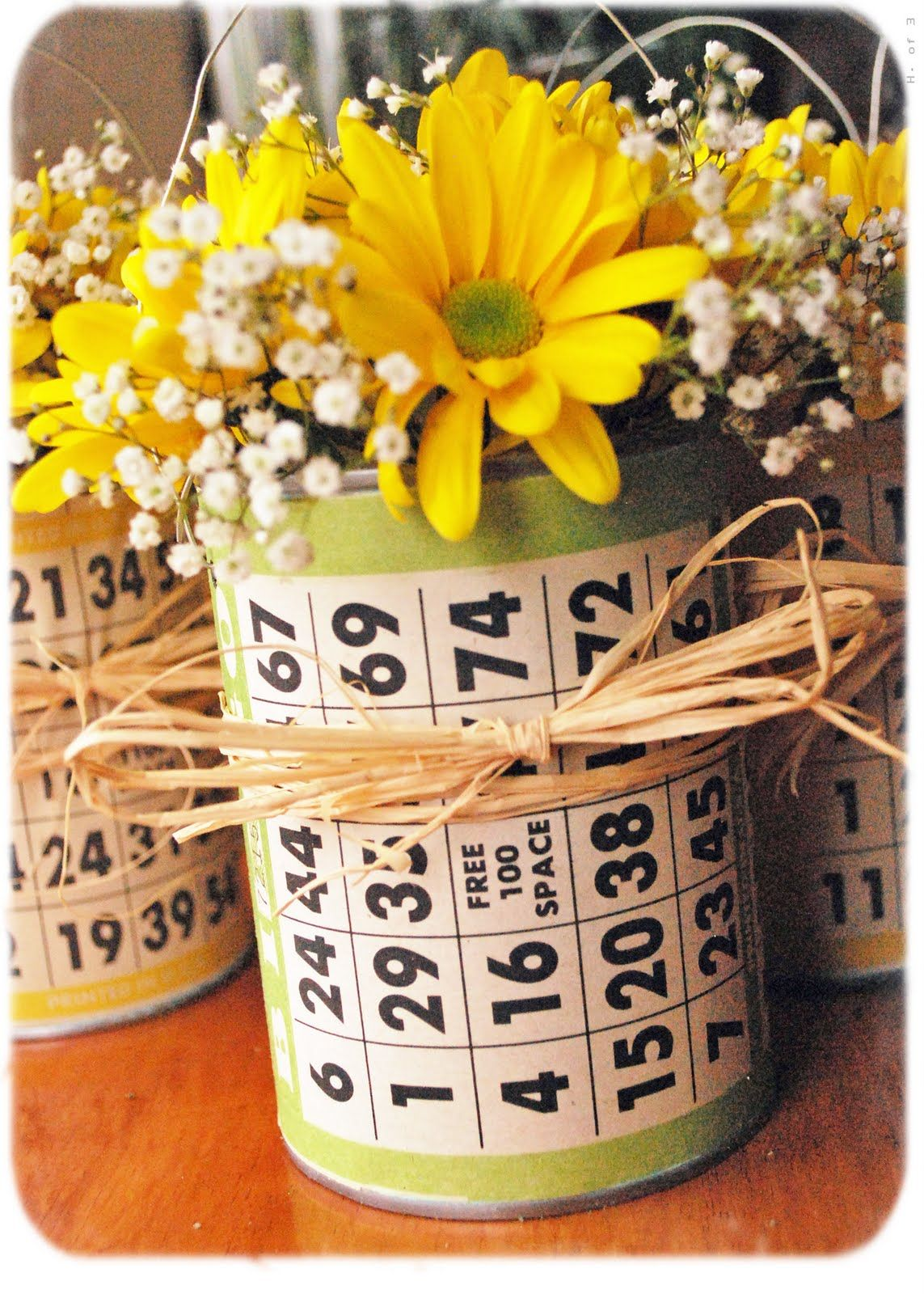 Table Decorations Can With Bingo Cards Bingo Night