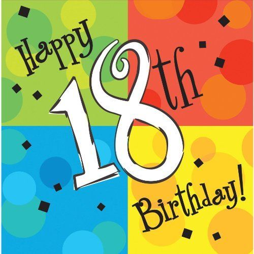 Cake Celebration Luncheon Napkin, 3 Ply, Happy 18th