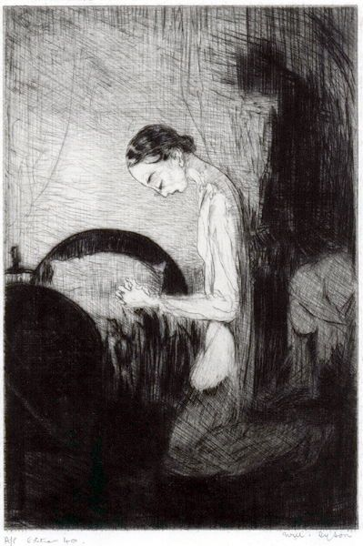 """Will Dyson (Aus., 1880-1938)  """"Grant Me, Oh Lord, A Little Temptation Ere Yet It Is Too Late"""", c1929. Drypoint,"""