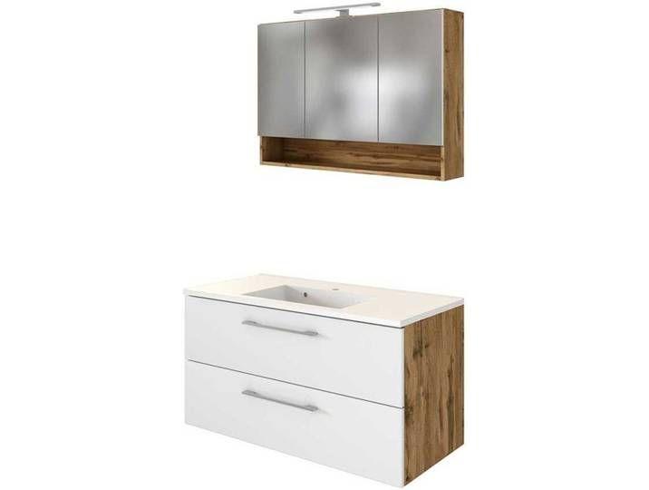 Spiegelschrank Und Waschtisch In Weiss Und Wildeiche Optik Led