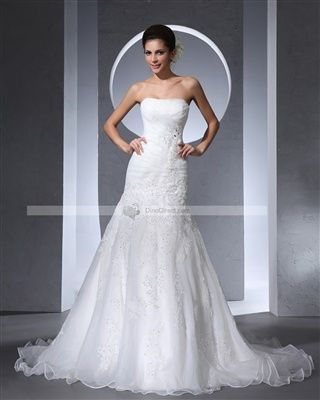 Qingpro Strapless Beading Pleated Floor Length Satin & Tulle Woman A Line Wedding Dress - DinoDirect.com