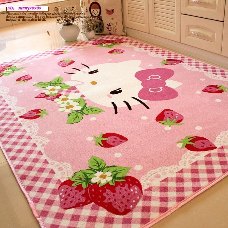 Strawberry hello kitty non slip mats kid living room bedroom door mat carpet rug apartment - Hello kitty schlafzimmer ...