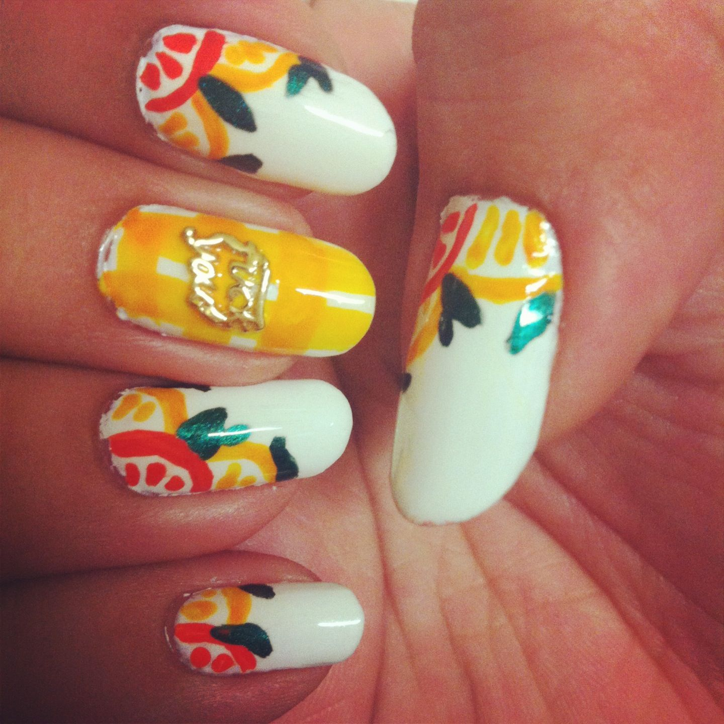citrus nails and hex nail jewelry
