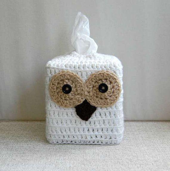 Owl Tissue Box Cover Crochet Woodland Bird by NutmegCottage on Etsy ...