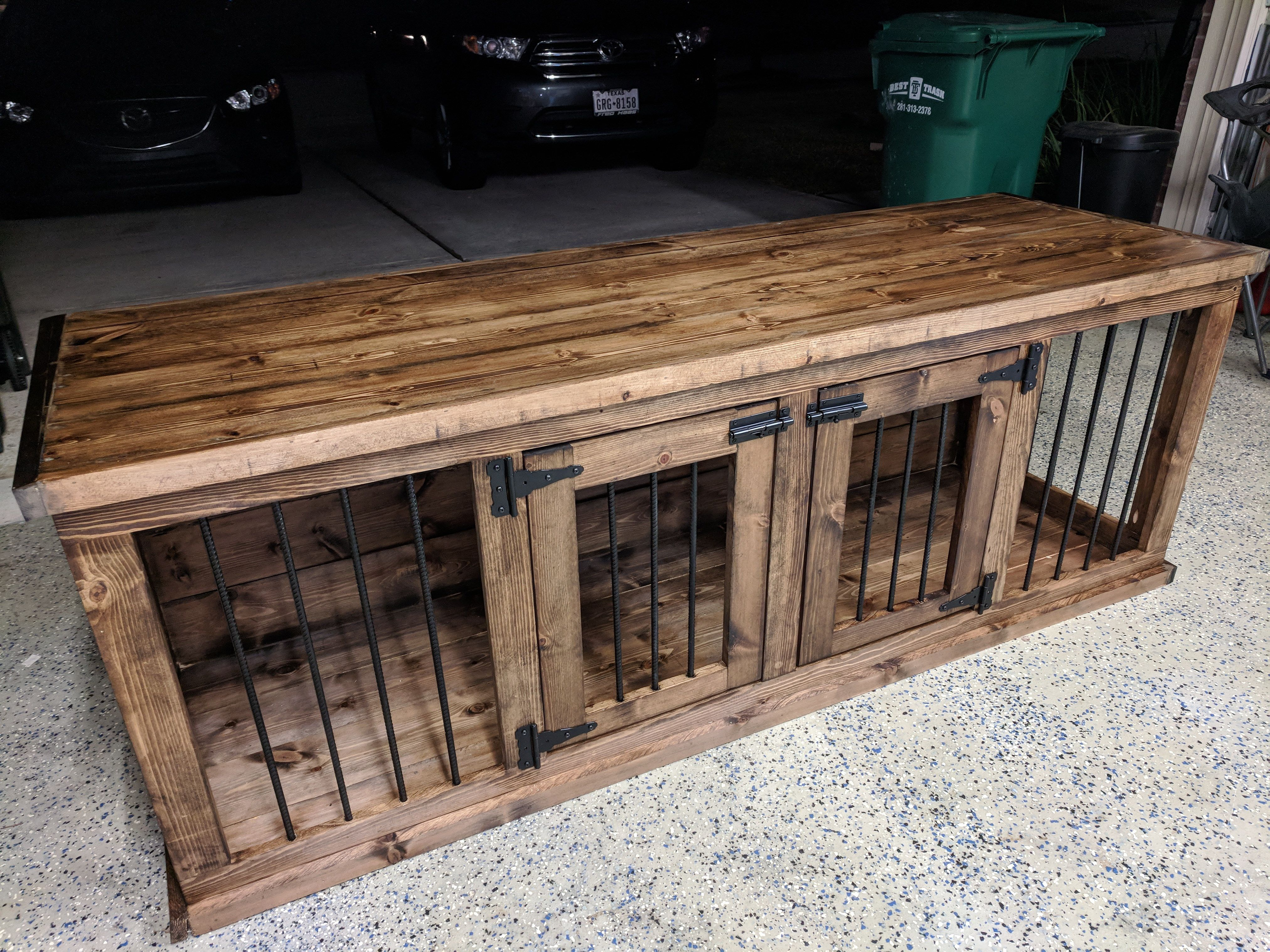I Made An Double Dog Kennel Out Of Wood And Rebar As A Gift To My Wife Handmade Crafts Ho Dog Kennel Furniture Dog Crate Furniture Dog Kennel Furniture Diy