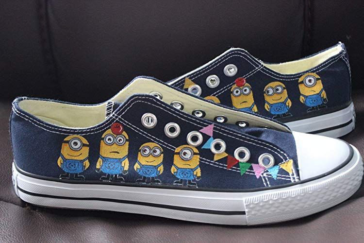 Minions Shoes Despicable Me Hand Painted Sneaker Men Women High Top Blue  Sneakers 85f48f5d6