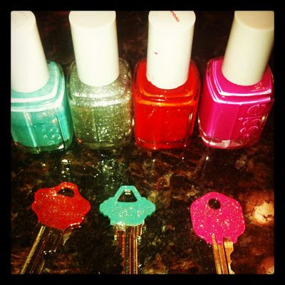 pinterest project!!....nail polish on your keys.