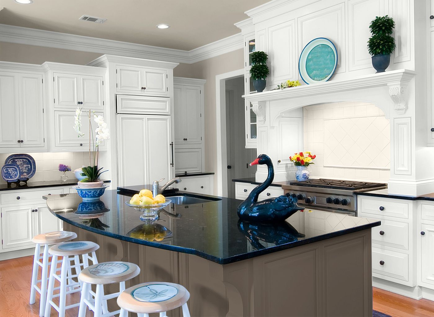 Kitchen In Fossil Grey Dark Island Cabinets