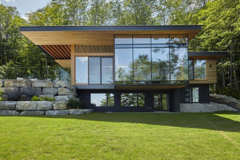 Modern Lakeside Cottage with Douglas Fir Wood Ceilings and ...