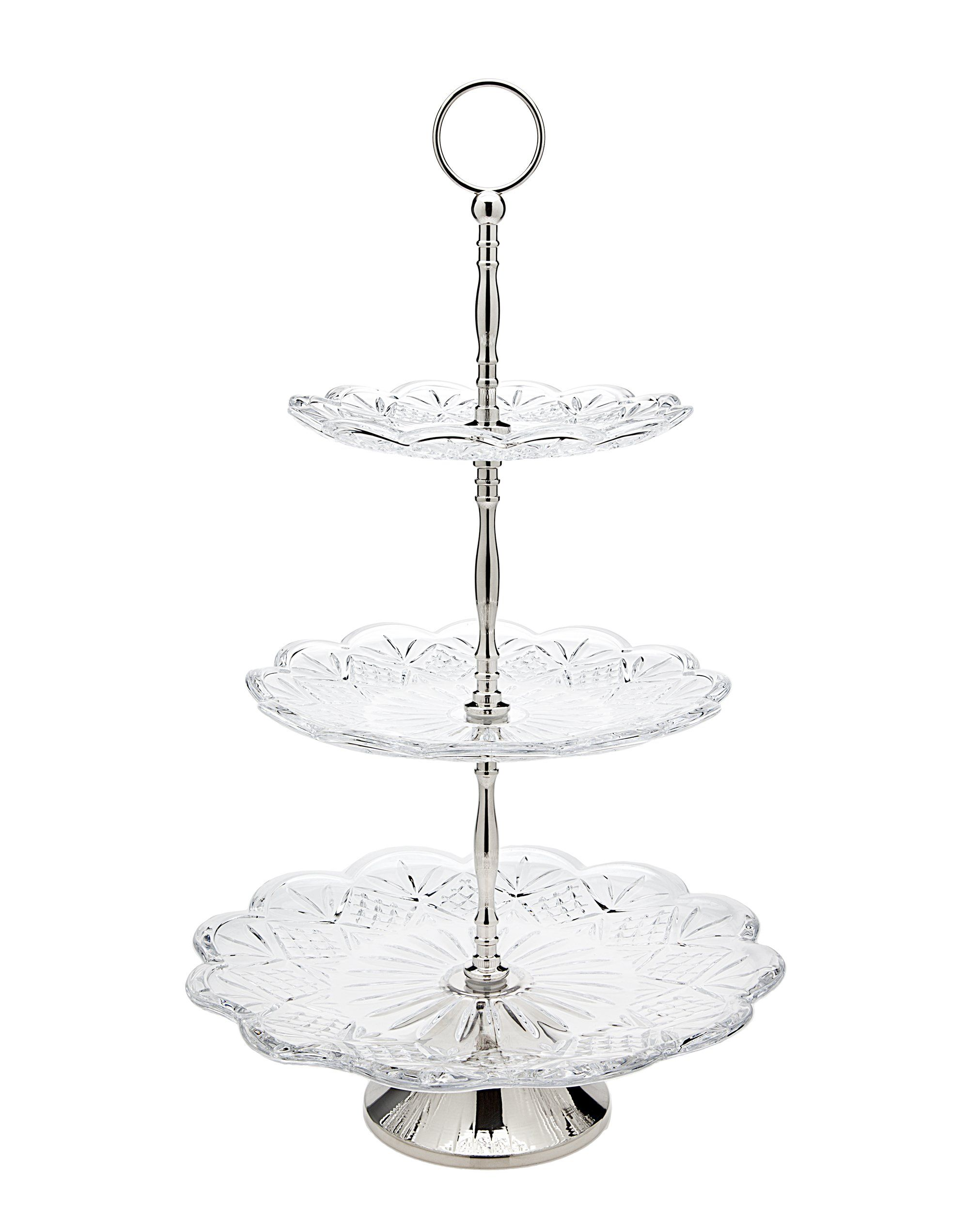 Amazon Com Godinger 25506 Dublin Dinnerware Dublin 3 Tier High Server Trays Kitchen Dining Dublin Crystal Tiered Server Crystal Cake Stand