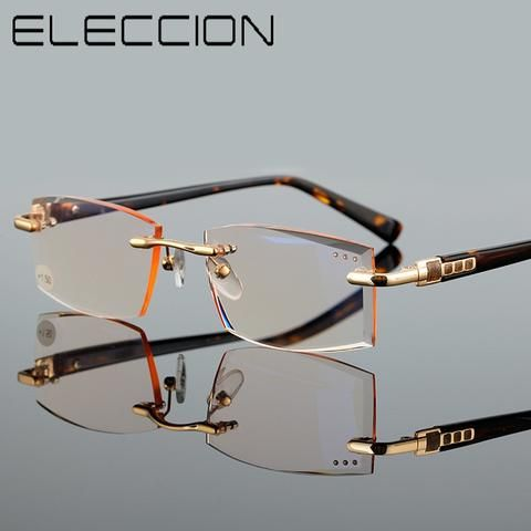 b3c8b39f5b766 ELECCION High Quality Reader Eyewear Fashion Style Rimless Reading Glasses  For Men and Women Magnifier Glasses Transparent Glass