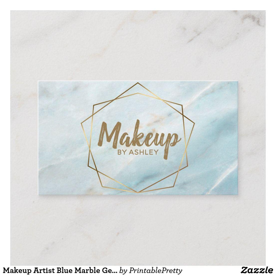 Makeup Artist Blue Marble Geometric Terrarium Business Card Zazzle Com Business Cards Beauty Glitter Business Cards Makeup Artist Business Cards