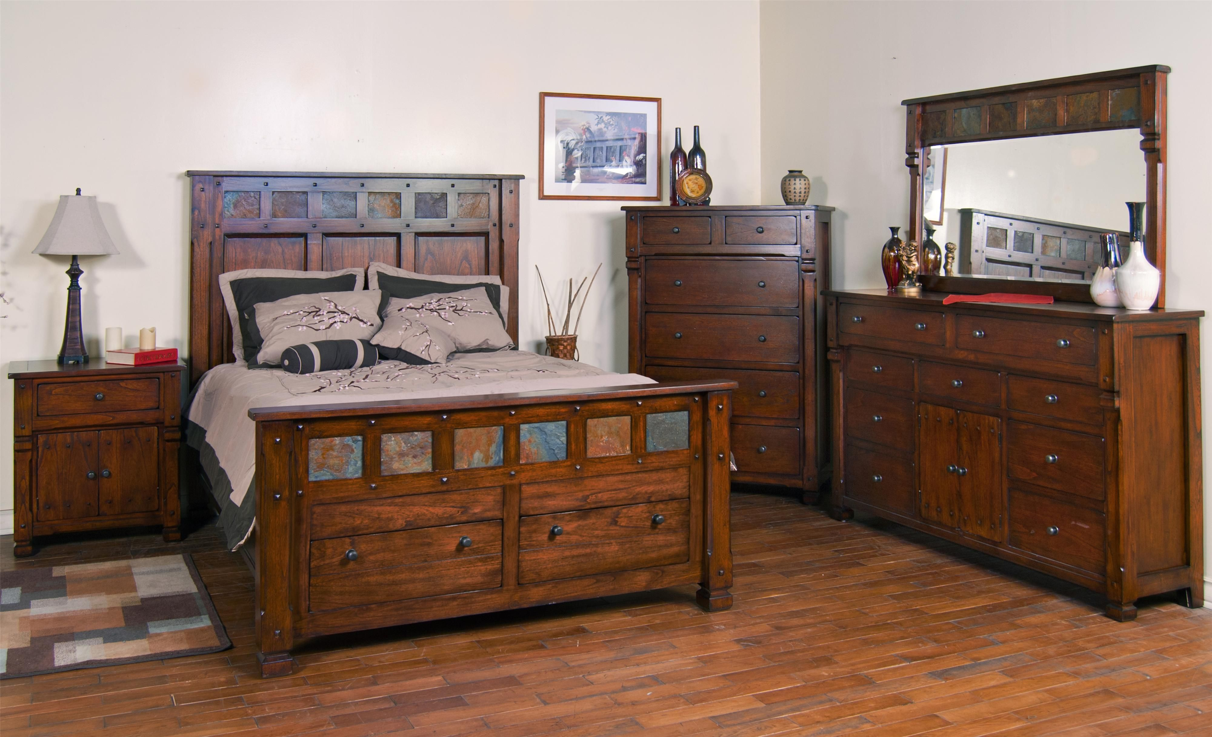 Sunny Designs Furniture Santa Fe Bedroom Collection Featuring Storage Bed With Slate Dresser And