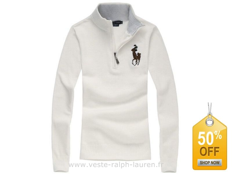 boutique femmes nouveau Ralph Lauren Pulls chute hiver fashion polo elegant  choi cheval taille blanc Pull
