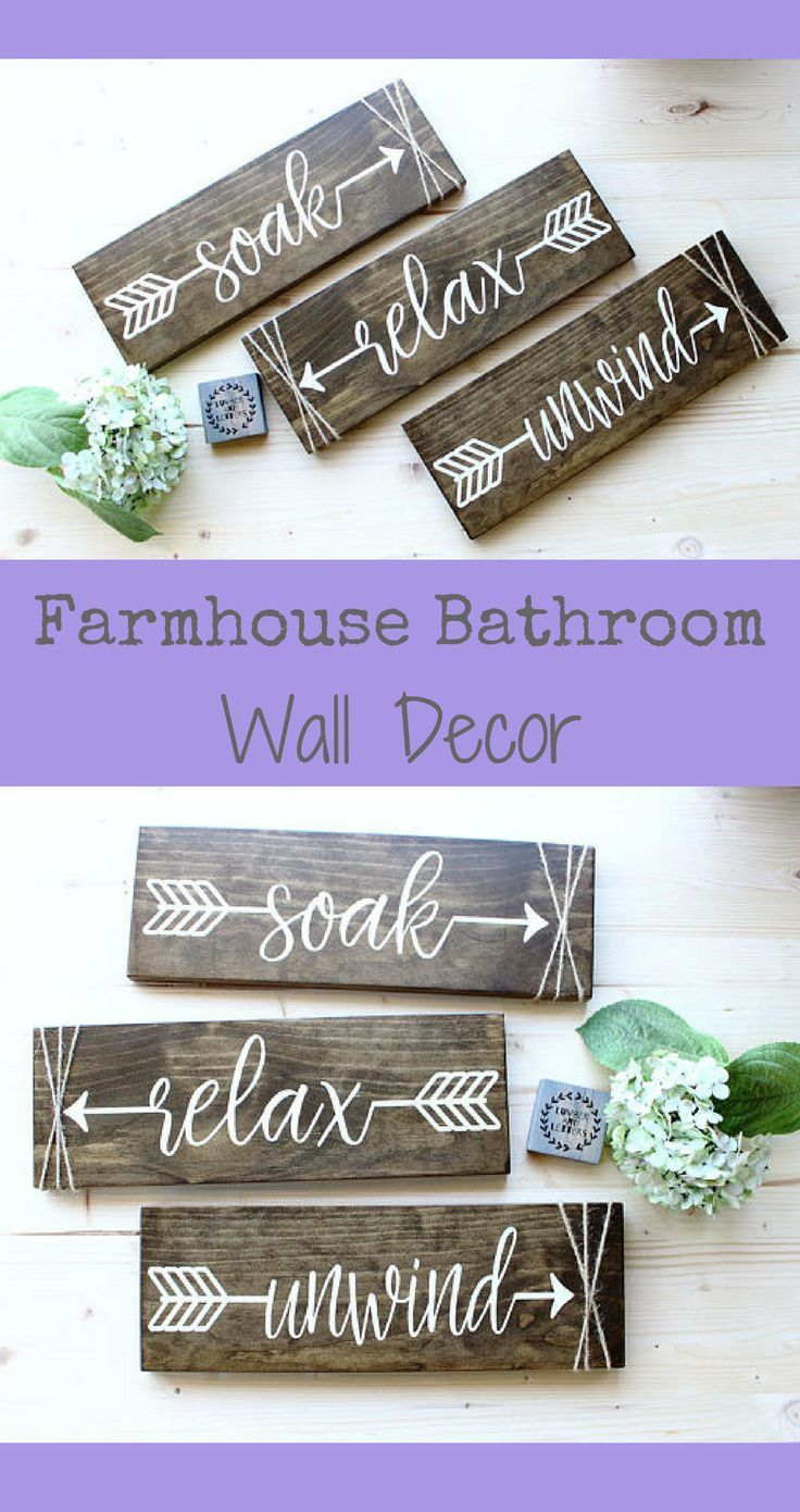 These Rustic Bathroom Wall Signs Are Awesome Love Them Looking For Large Farmhouse Wall Decor This Relax Soa Diy Rustic Decor Arrow Decor Kid Bathroom Decor