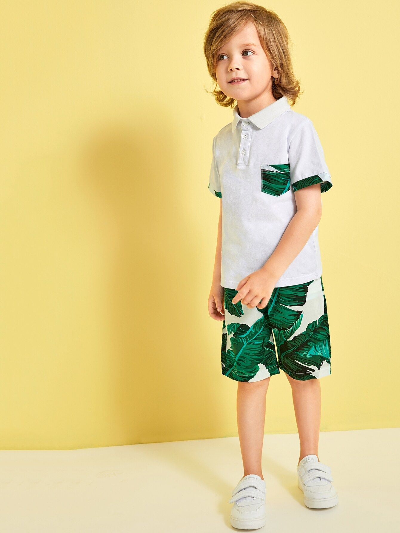 Toddler Boys Contrast Trim Polo Shirt With Tropical Print Shorts #toddlershorts