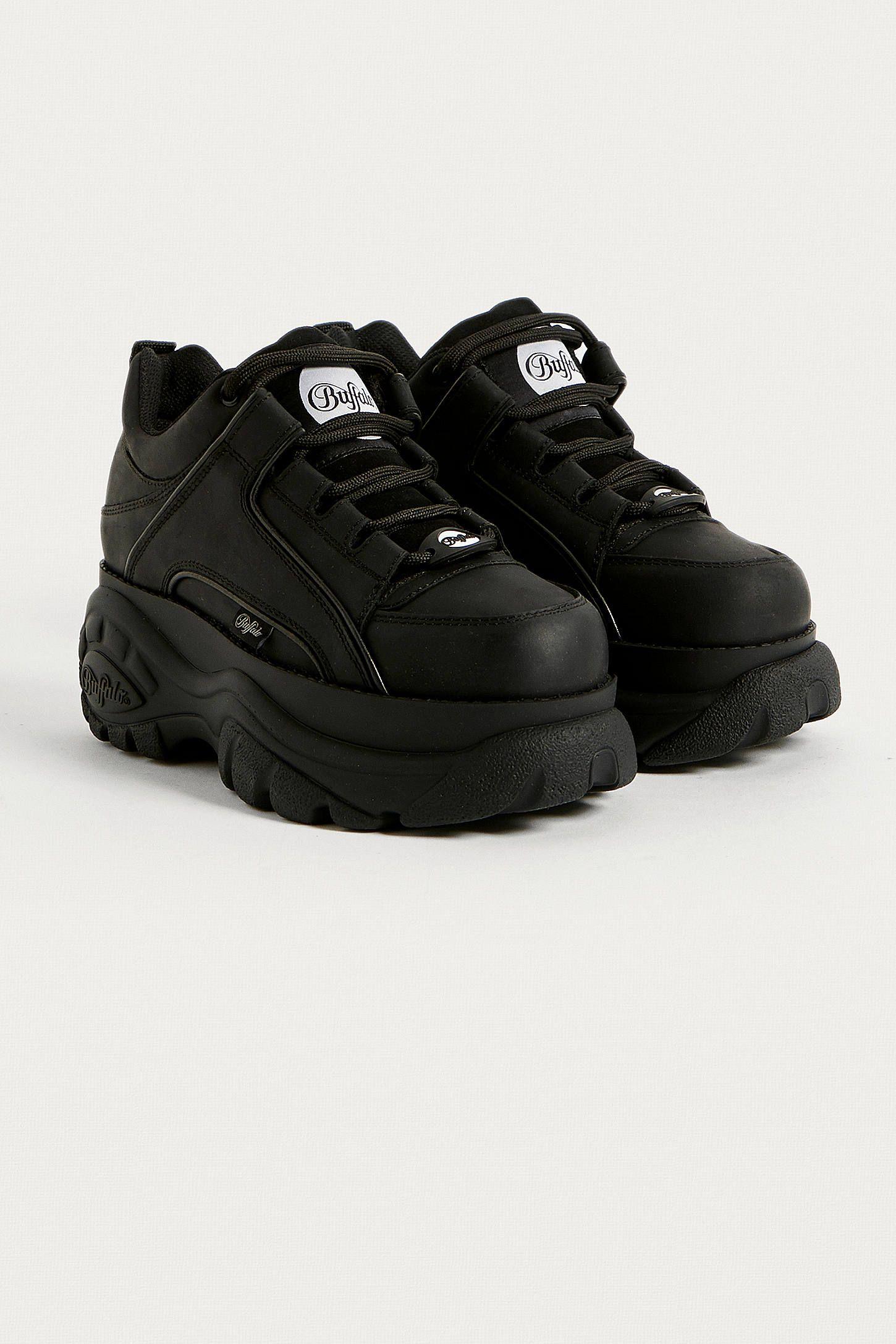 e5a49c0ccfe Buffalo Black Leather Chunky Platform Trainers