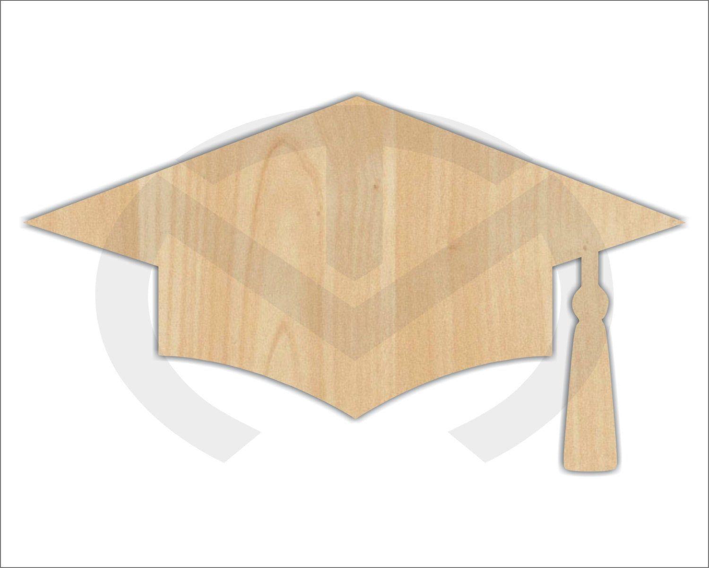 Unfinished Wood Graduation Cap Laser Cutout Wreath Accent Door Hanger Ready To Paint Personalize Various