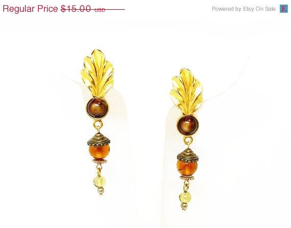 Boho Dangling Tigers Eye & Feather Clip on by thejewelseeker