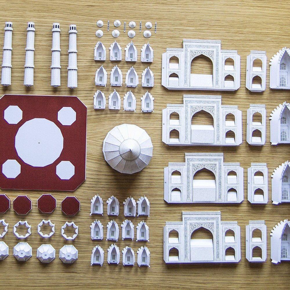 TAJ MAHAL India Architecture Paper Model Kit Back To