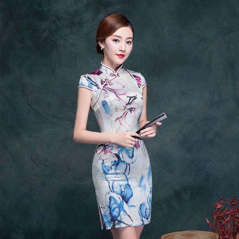 fbb55b1a5 New Arrival Traditional Chinese Dress Women's Satin Qipao Sexy Vintage  Cheongsam Flower Evening Dress Size M L XL XXL 3XL