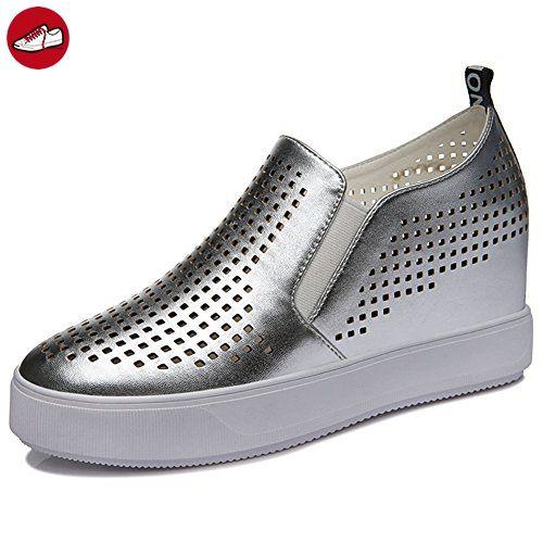 Damen Runde Zehen Hohl Metallfarbe Atmungsaktive Oberflächenmaterial  Slip-on Dicke Boden Plateau Lässige Schuhe ohne. Women s SneakersSkateboardingSlip  ... b5b201aa91