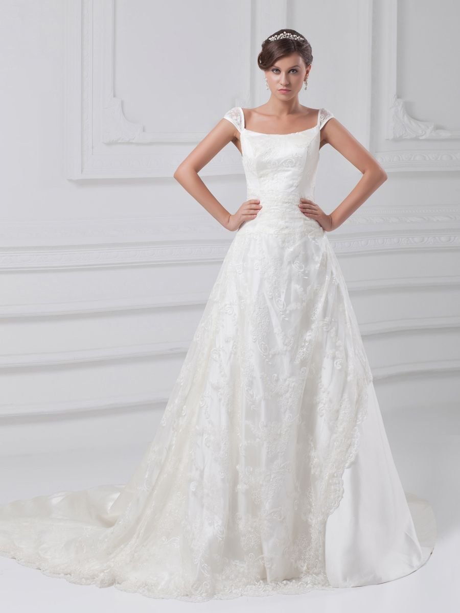 Straps lace over satin princess wedding dress with court train