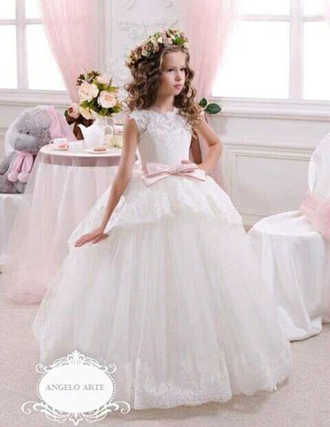 b44344bae64 Princess Tulle Lace Tutu Ball Gown Long Flower Girl Dresses 2016 Girls  First Communion Birthday Dresses Vestido De Daminha