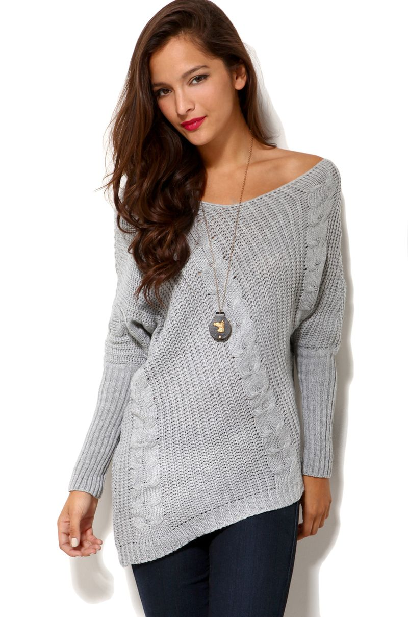 akira-grey-off-shoulder-cable-knit-sweater-in-grey-product ...