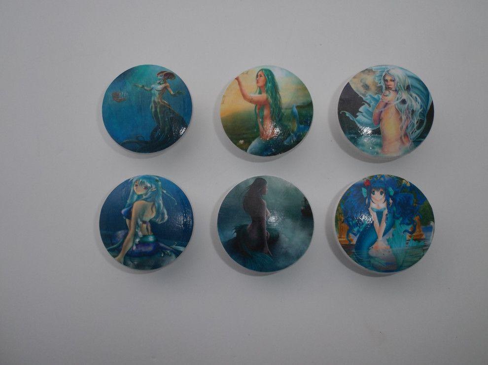Set Of 6 Mythical Mermaid Oversized Cabinet Knobs