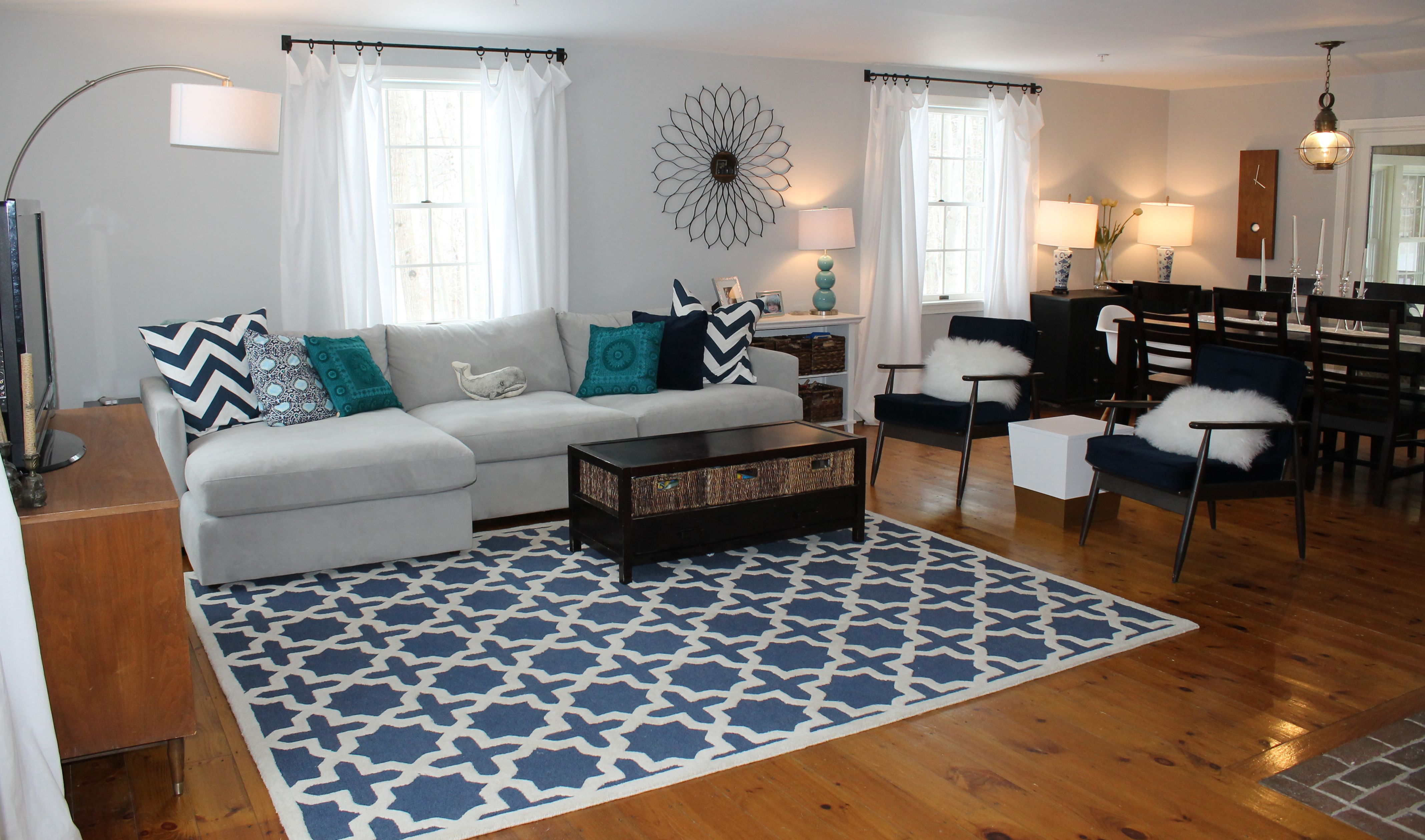 gray, teal and navy | Living room grey, Living room modern ...