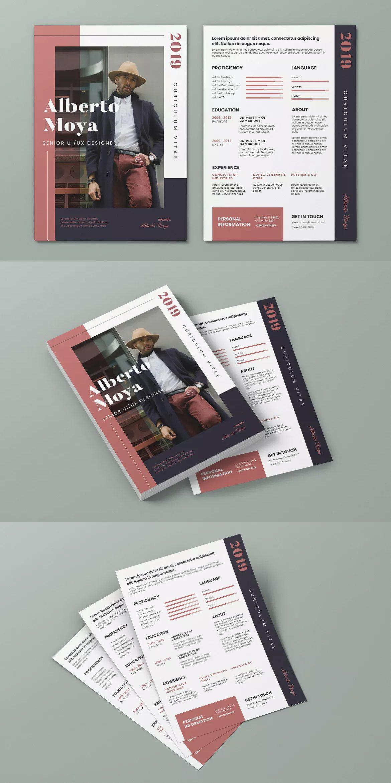 Clean minimalist cv resume flyer template psd ai