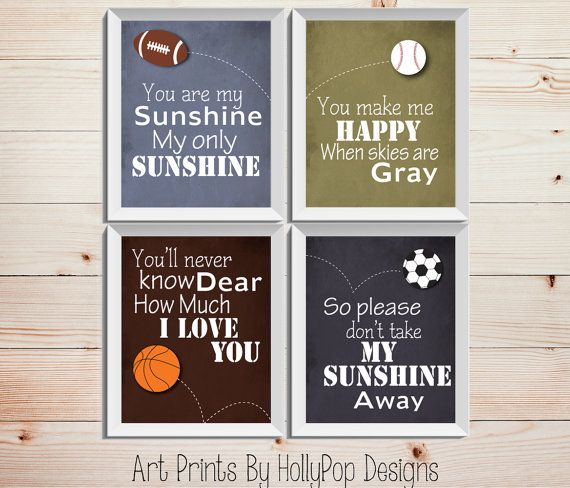 Boy Art Prints Sports Decor Quotes For Boys You Are My Sunshine Wall Baby Playroom Nursery 0436
