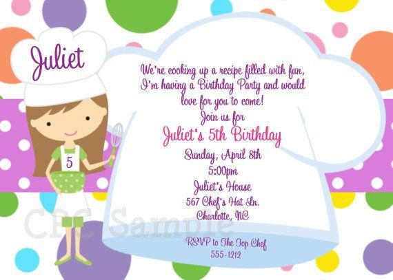 Kids Baking Birthday Party Invitation Printable – Cooking Birthday Party Invitations