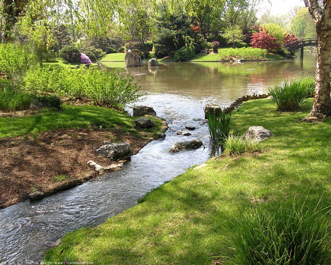 Nature Springtime Free Desktop Wallpapers For Pc Mac 12 Garden Stream Spring Time Nature