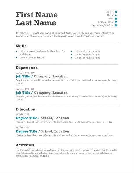 Balanced Resume (Modern design) | Work | Pinterest | Resume words ...