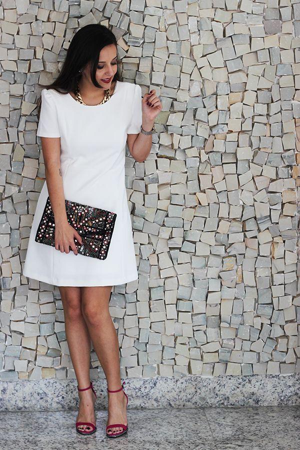 Look da Camis | Vestido, colar e Clutch  Zara, Anabela Schutz