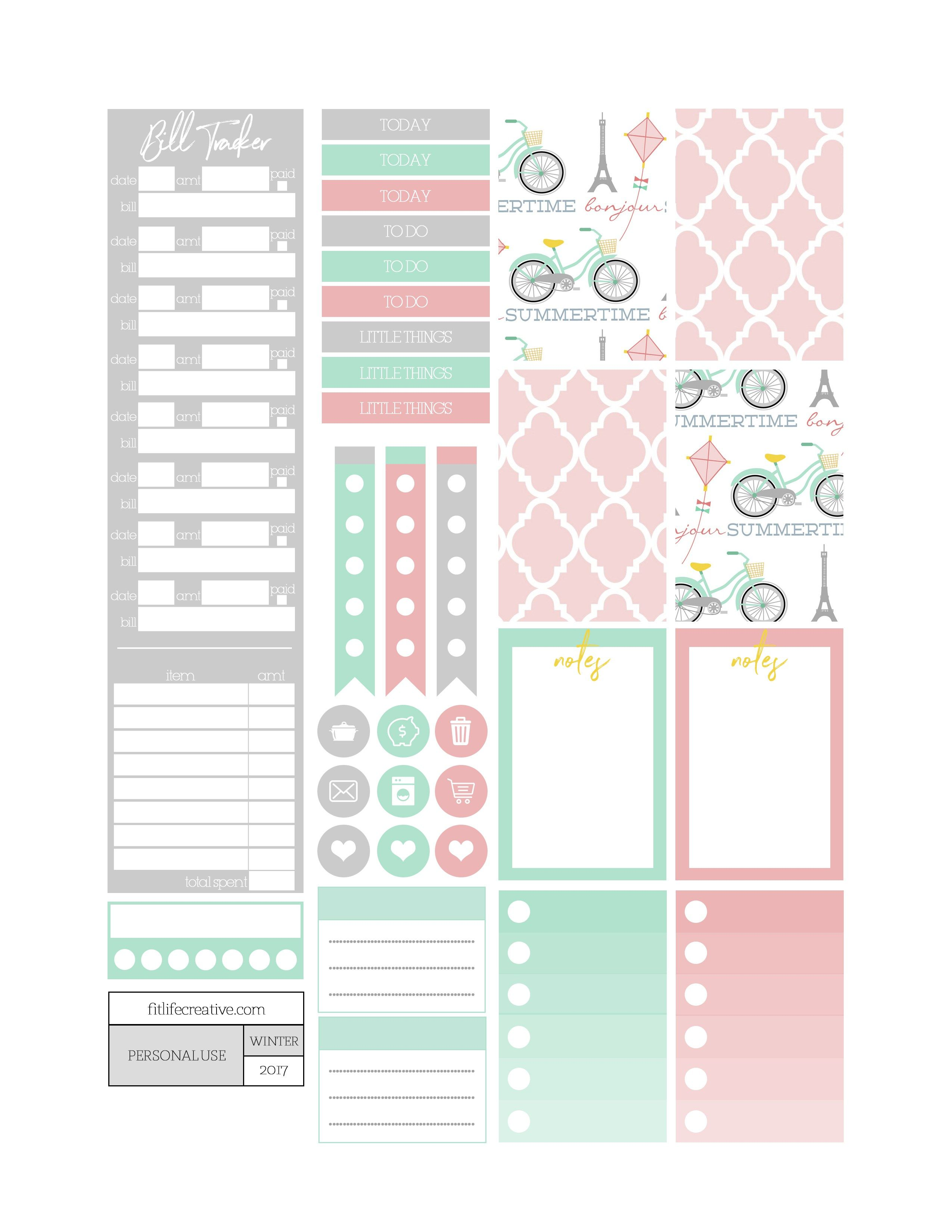 Free Summer In Paris Planner Stickers Fit Life Creative Planner Printables Free Planner Stickers Free Planner