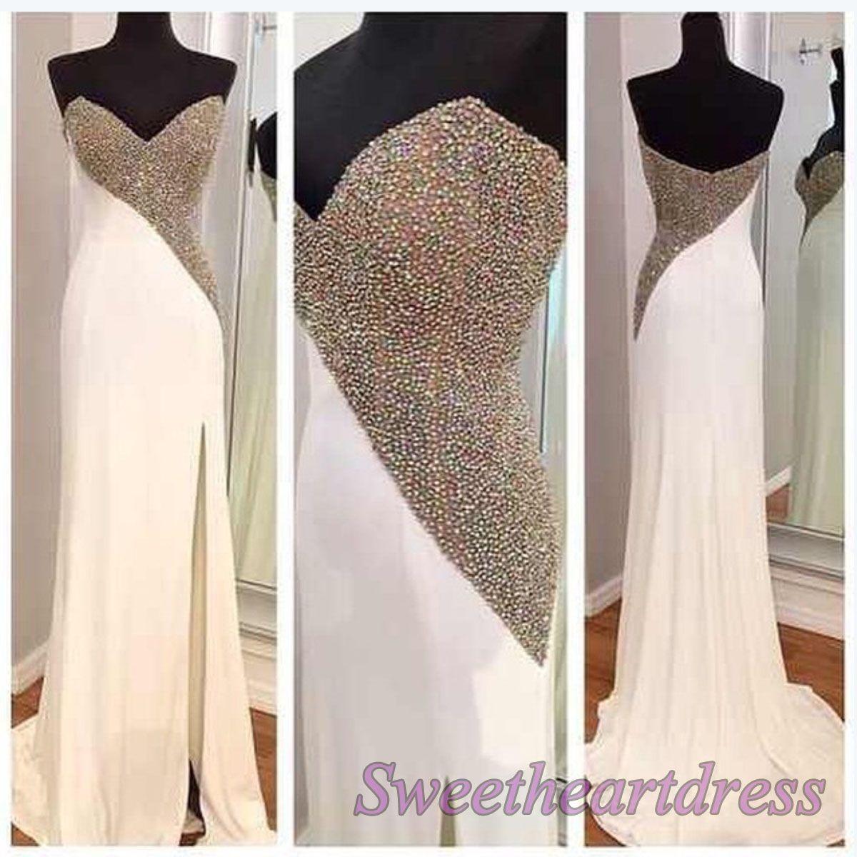 Elegant white chiffon strapless prom dress beaded side slit ball