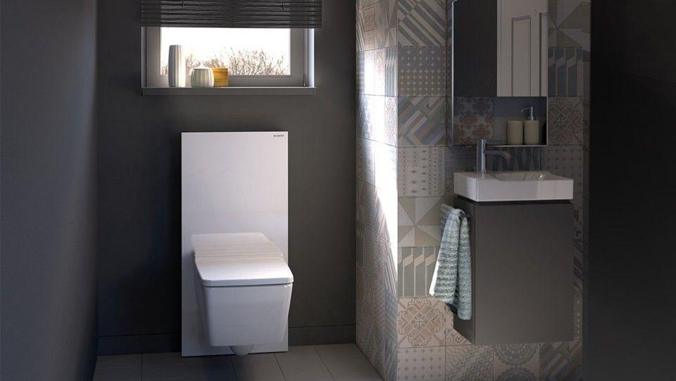 Badkamer met geberit monolith sanitairmodule in de kleur wit