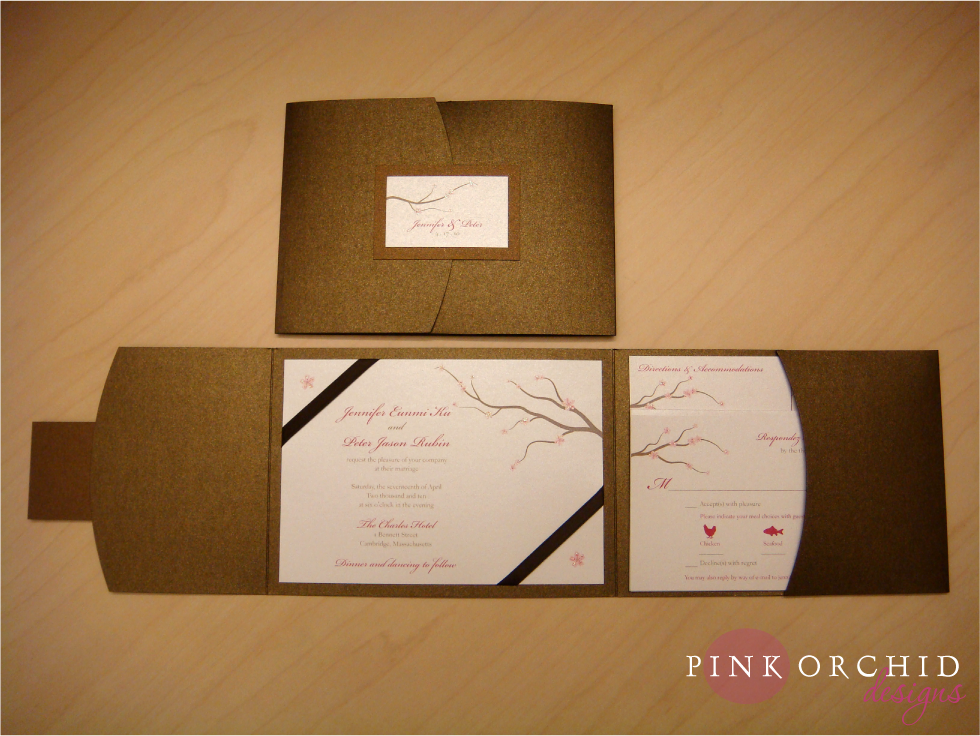 cherry blossom wedding invitations | Cherry Blossom Pocketfold ...